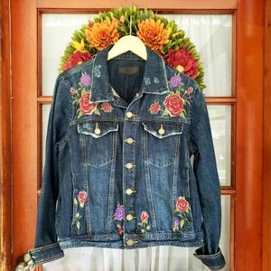 [BLANKNYC] Distressed Embroidered Denim Jacket